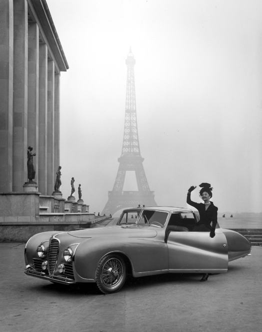 Model Wearing Jacques Fath Beside a Delahaye, by Tony Linck, 1947