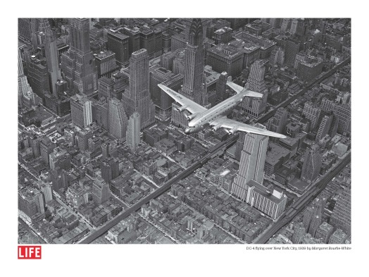 DC-4 flying over New York City, by Margaret Bourke-White, 1939, Poster