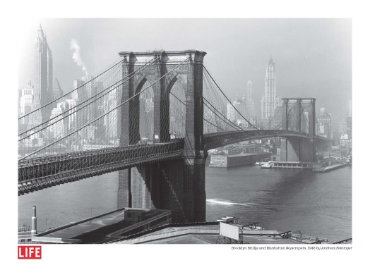 Brooklyn Bridge and Manhattan Skyscrapers, by Andreas Feininger, 1948, Poster