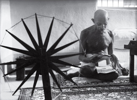 Gandhi and the Spinning Wheel, by Margaret Bourke-White, 1946