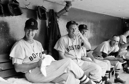 Boston Red Sox Ted Williams and Pinky Higgins in Dugout, by Richard Meek, 1955